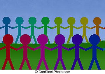 etnic, chaînes, unité, colorfull