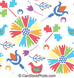 etnic, seamless, patrón, con, aves, y, flores, tradicional, diseño