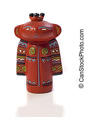Etnic Statuewith red color and made from clay