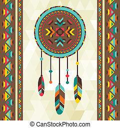etnický, grafické pozadí, s, dreamcatcher, do, navajo,...