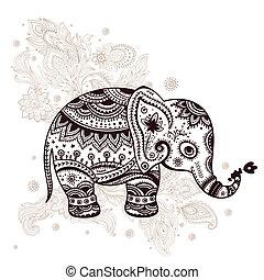 etnico, elefante, illustrazione