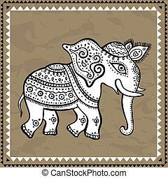 etnico, elephant., indiano, style.