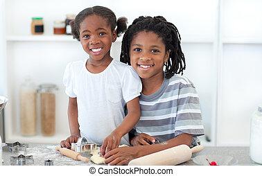 etnico, fratelli, fare biscotti