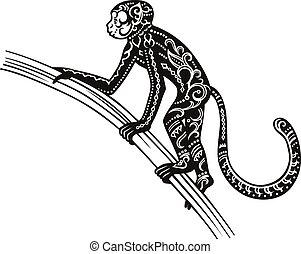Etnico, scimmia, ornato