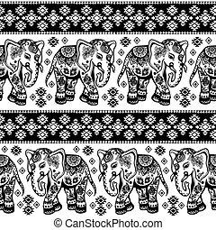 etnico, seamless, elefante