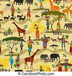 etnico, seamless, struttura, africano