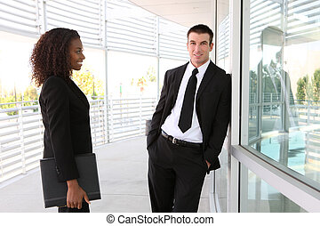 etnico, uomo donna, squadra affari