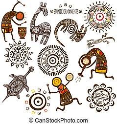 etniczny, afrykanin, wzory, komplet