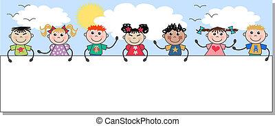 etniczny, mieszany, dzieciaki