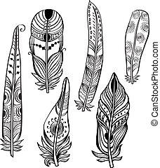 etniczny, pierze, plemienny