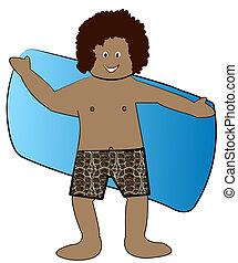 etniczny, wysuszający, garnitur, chłopiec, ręcznik, kąpanie ...