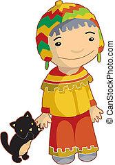 etnikai, macska, helybeli, fiú
