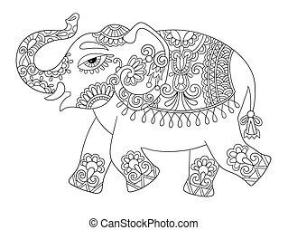 etnische indiaan, elefant, lijn, origineel, tekening,...
