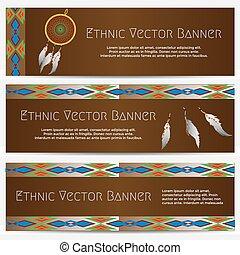 etnisk, baner, med, dröm stoppare