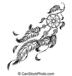 etnisk, dröm stoppare, med, feathers.