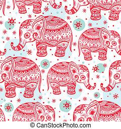 etnisk, elefant, seamless