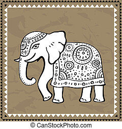 etnisk, elephant., indisk, style.