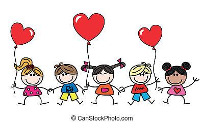 etnisk, kärlek, blandad, barn