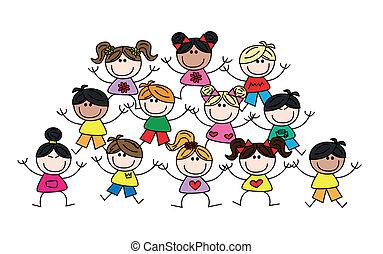 etnisk, mångkulturellt, blandad, barn