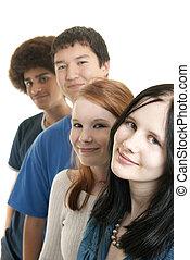 etnisk, tonåring, vänner, le