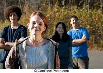 etnisk, tonåring, vänner