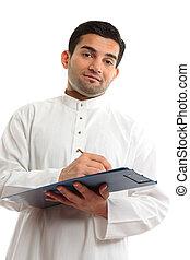 etniske, forretningsmand skrive