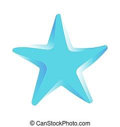 etoile mer bleue, image, isolé, vecteur, blanc