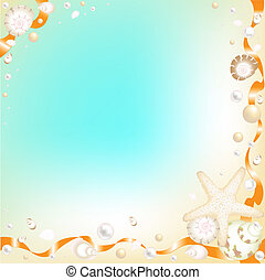 etoile mer orange, rubans, fond, coquilles