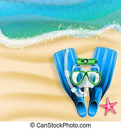 etoile mer, tube, masque, fond, came, plongée, plage