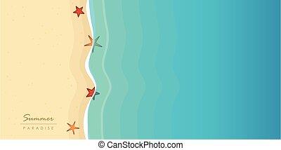 etoile mer, vacances, été, plage, fond, eau