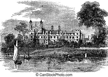 Eton College in Windsor, England, United Kingdom, vintage engraving
