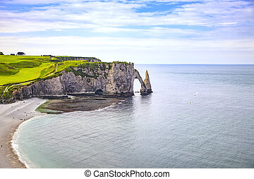 Etretat, azul, penhasco,  aval, pedras, França, marco, oceânicos,  Normandy