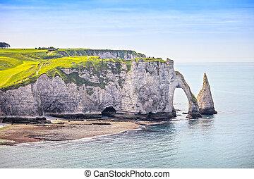 Etretat, azul, penhasco, pedras,  aval, marco, oceânicos,  Normandy