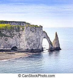 Etretat, azul, penhasco, pedras, França,  aval, oceânicos, marco,  natural, aéreo, Europa, arco, vista,  Normandy