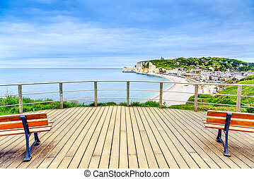 etretat, balkon, panoramisch, france., oriëntatiepunt,...