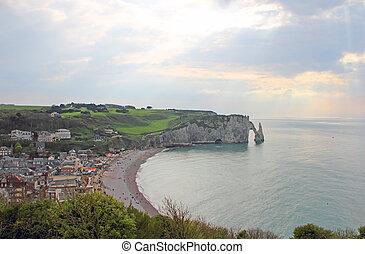 Etretat, cliffs - View on sea and cliffs in Etretat, ...