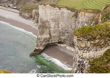 Etretat, France - Cliffs at Cote d'Albatre (Alabaster Coast). Part of the French coast of the English Channel.