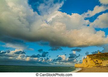 etretat, strand, in, normandie, frankrike