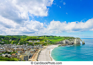 Etretat village and beach, Aval cliff. Normandy, France.