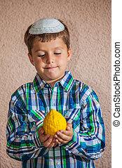 etrog, -, 儀式, 水果, 為, 猶太的假日, ......的, sukkot