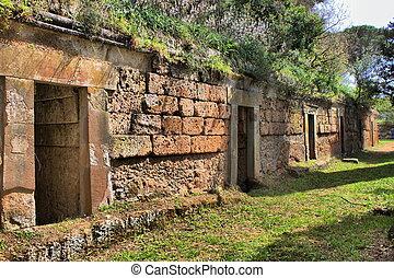 etruscan, cerveteri, necropolis
