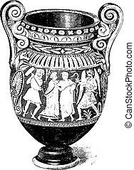 etruscan, engraving., vendemmia, vaso