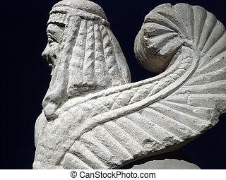 """Etruscan gravestones . """"Pietra fetida"""" - funerary sphinx, middle 6 century B.C."""