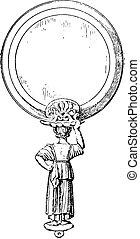 Etruscan mirrors, vintage engraving. - Etruscan mirrors,...