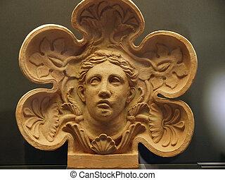 etruscan, terracota, antiguo, art., pintado