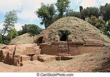 circular tombs inside ancient etruscan necropolis near Cerveteri, Italy, Europe