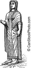 Etruscan woman, vintage engraving.