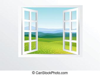 ett fönster där du öppnar, och, natur