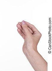 etwas, halten hand