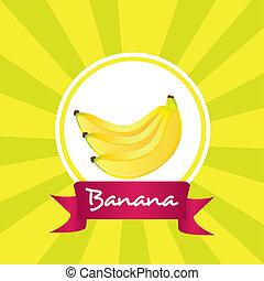 etykieta, banany, grono